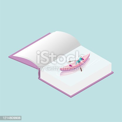 A businessman is rowing a small wooden boat in the book.The businessman is wearing a blue suit. The small wooden boat is pink and the background is blue.