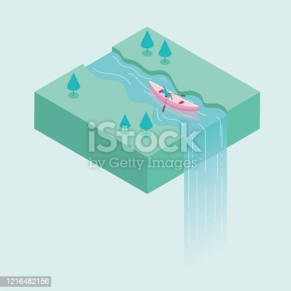 A businessman is rowing in the river, and the water flows down from the air to form a waterfall. Surreal concept design.