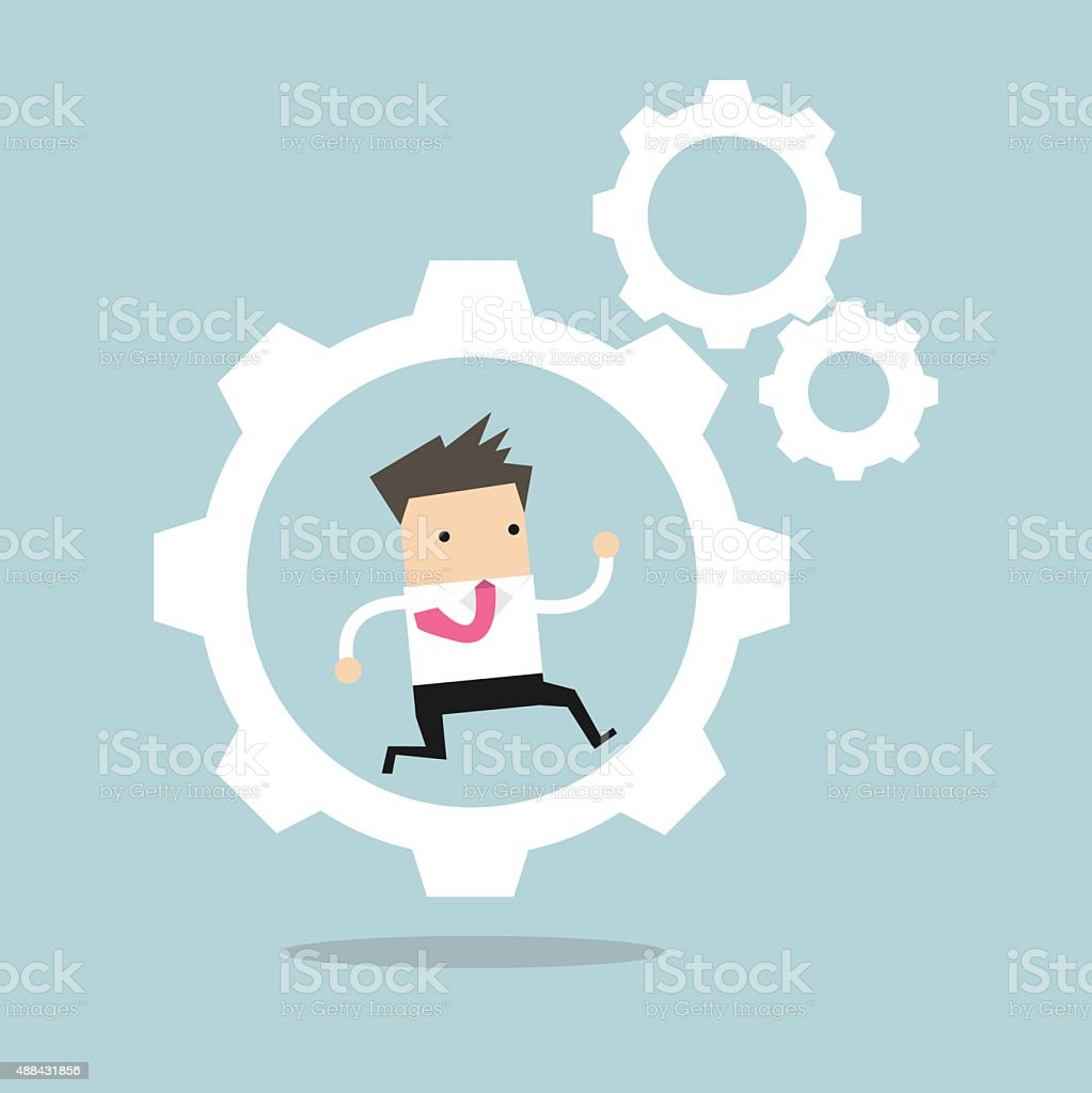 Businessman is running in the cogwheel machine vector art illustration