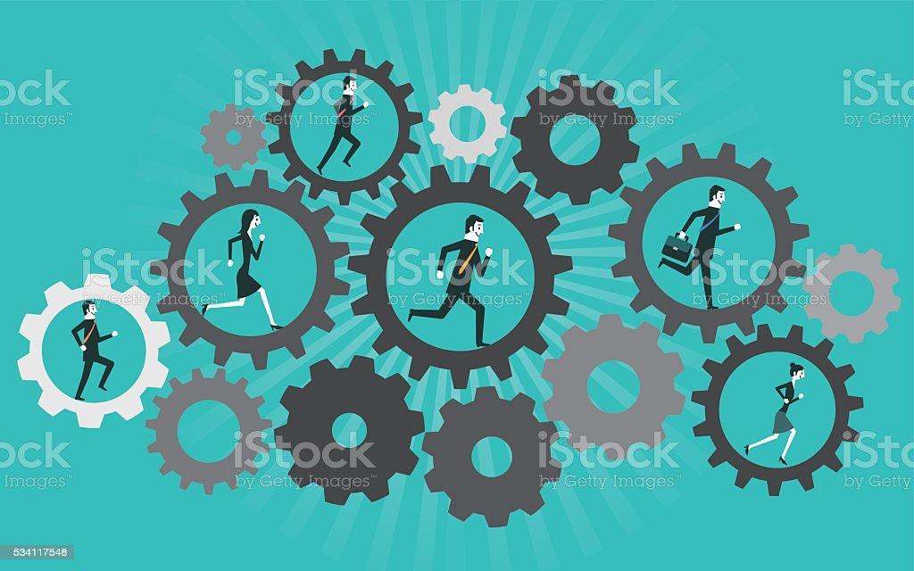 Homme d'affaires est en cours dans la machine cogwheel - Illustration vectorielle
