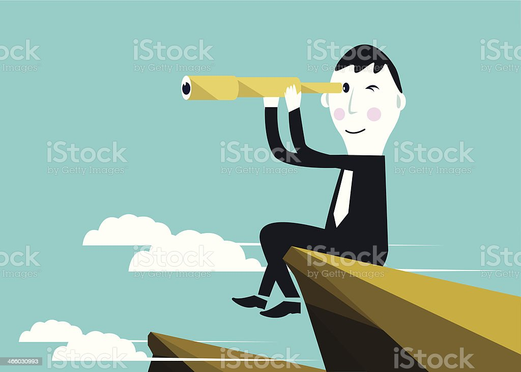 Businessman is seeking for an opportunity vector art illustration