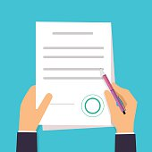 Businessman is signing a contract. Vector agreement icon in flat