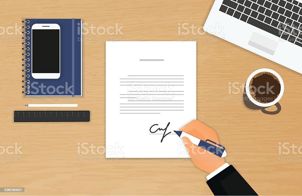 Businessman is signing a contract vector art illustration