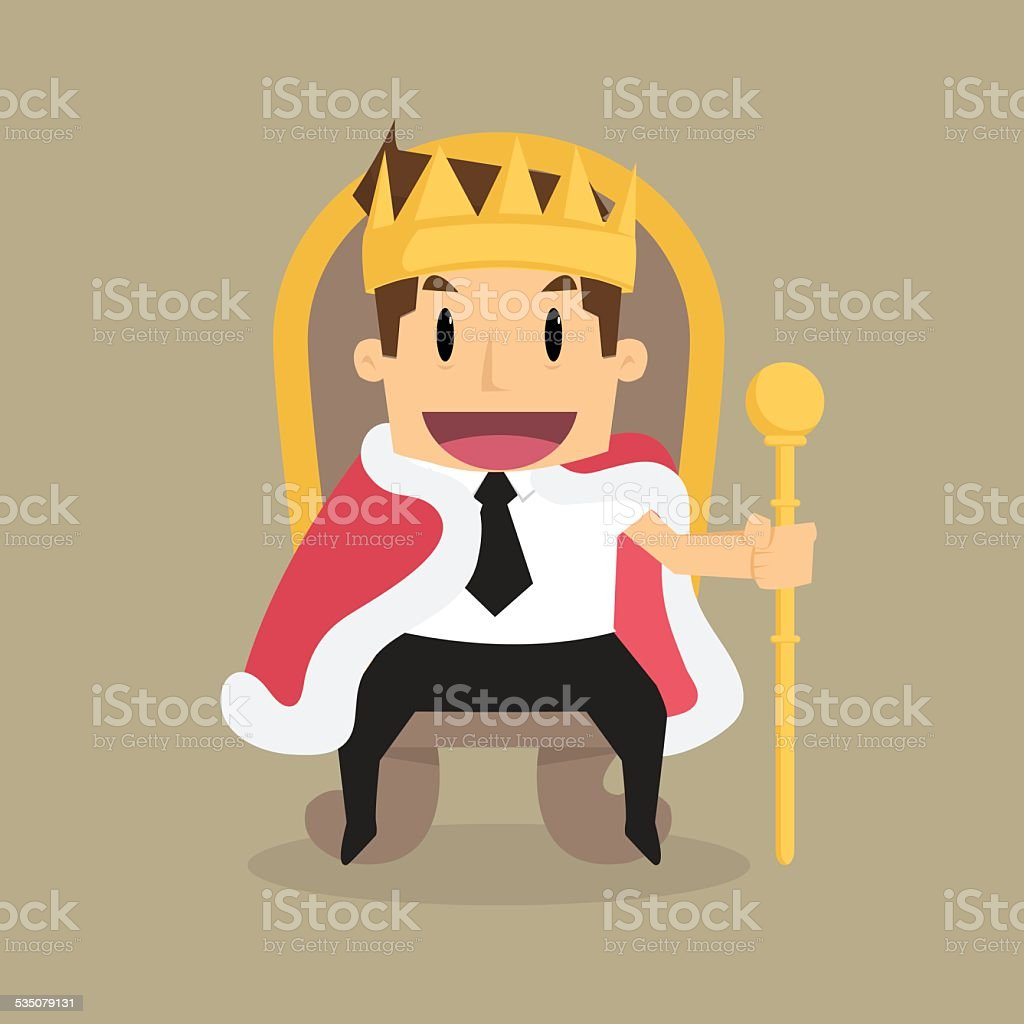businessman is sitting on the throne like a king vector art illustration