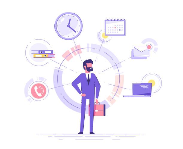 사업가가 서서 배경에 사무실 아이콘이 있는 서류 가방을 들고 있습니다. 멀티태스킹 및 시간 관리 개념.  효과적인 관리. 벡터 그림입니다. - 단정한 사무복 stock illustrations