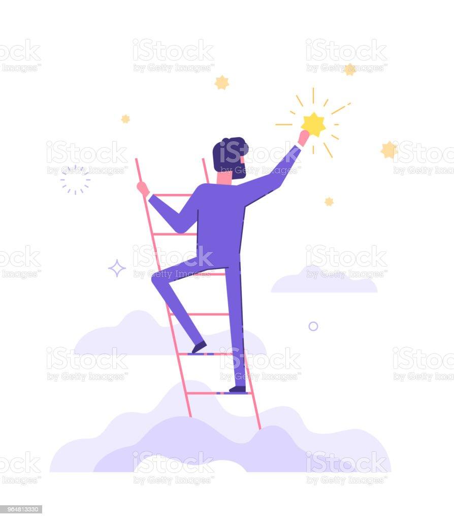 Homme d'affaires est permanent dans les escaliers et pour atteindre les étoiles dans le ciel. Objectifs et leurs rêves. Entreprise et concept de carrière. Illustration vectorielle plane. - Illustration vectorielle