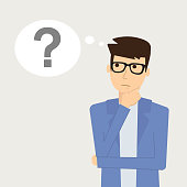 Businessman is thinking. Question mark. Vector illustration