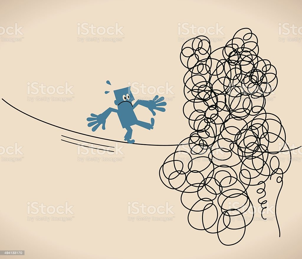 Businessman is walking on a tangled messy line (string, rope) vector art illustration
