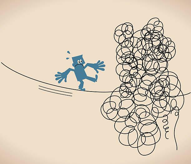 geschäftsmann geht auf eine verheddert unordentlich line (string, seil - strickideen stock-grafiken, -clipart, -cartoons und -symbole