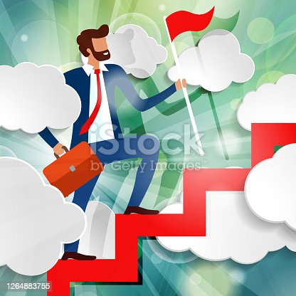 Businessman is walking up the stairs with red flag and briefcase among white paper clouds on beautiful spring green sunny rays light background