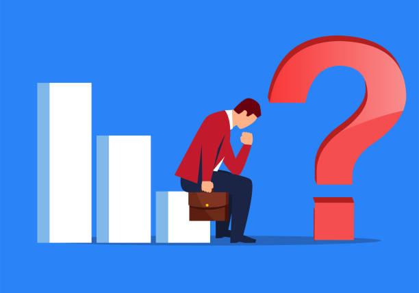 businessman is worried about economic recession - unemployment stock illustrations