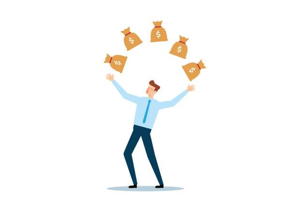 Businessman Juggling Money Bags vector art illustration