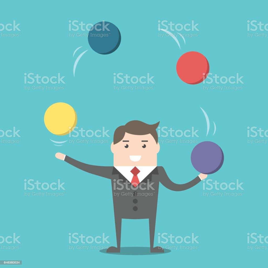 Businessman juggling spheres vector art illustration