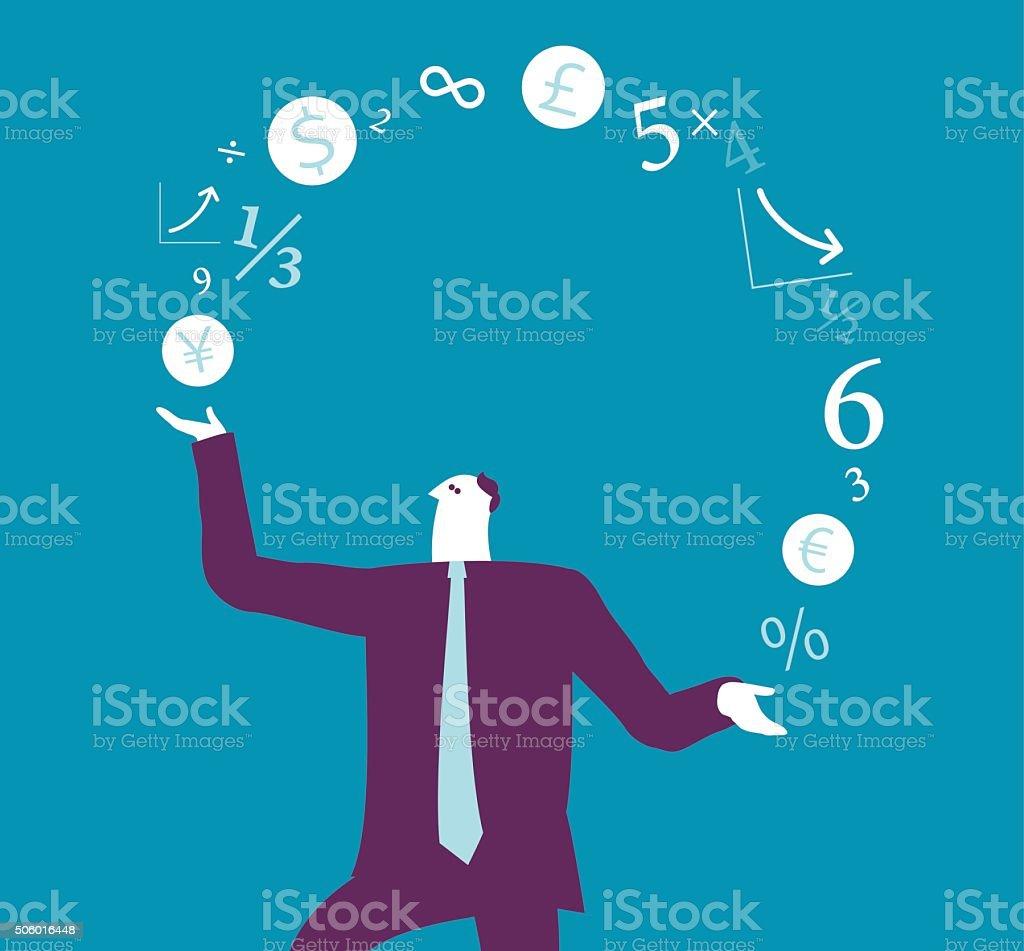 Businessman juggling with Finance sign vector art illustration
