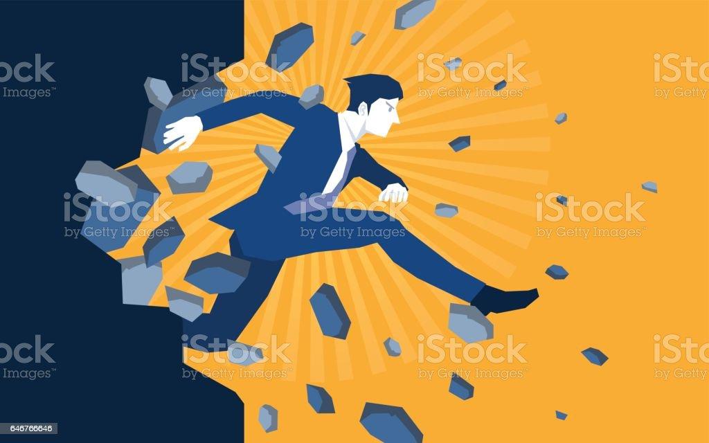 Salto de empresario rompiendo la pared - ilustración de arte vectorial