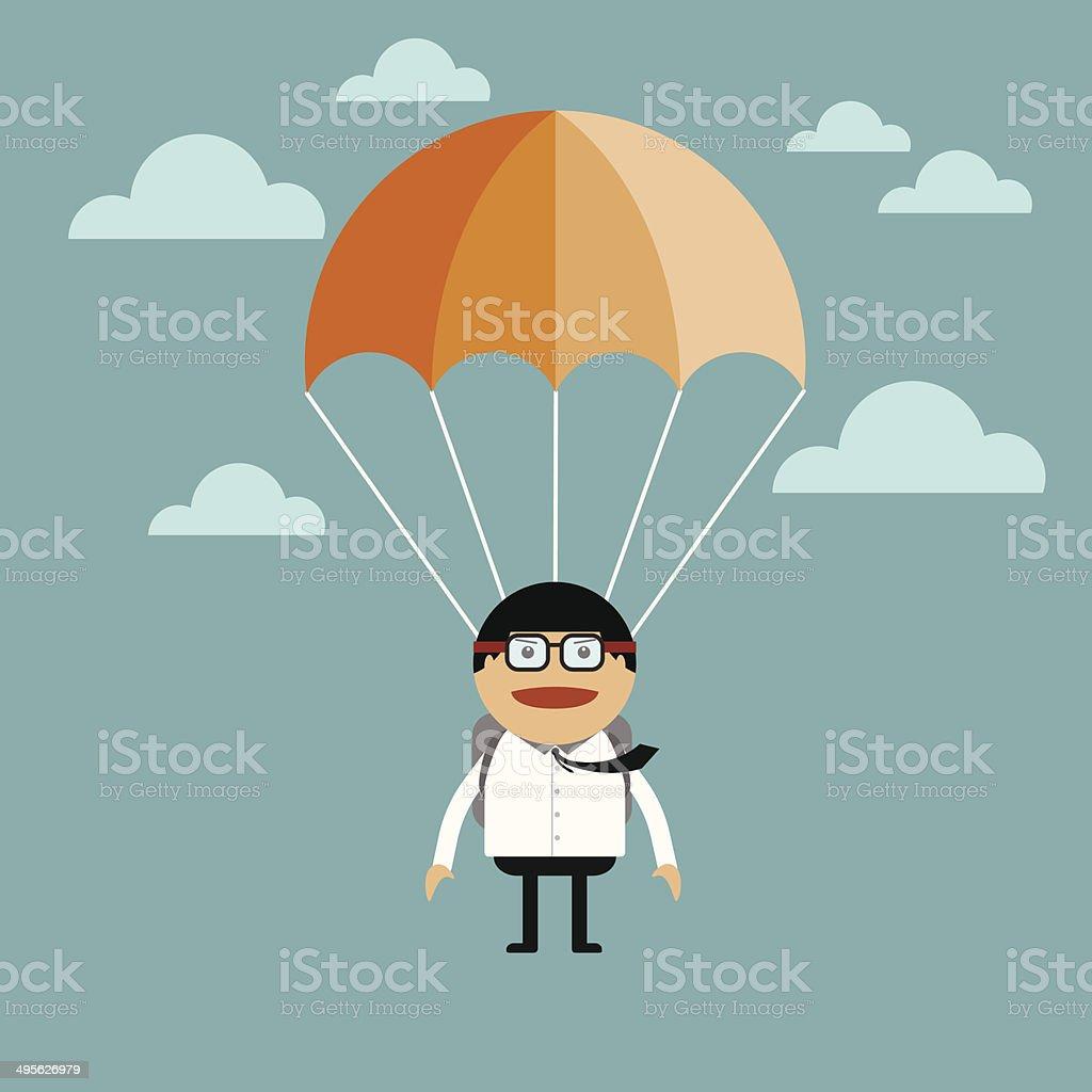 Businessman jump of a parachute vector art illustration