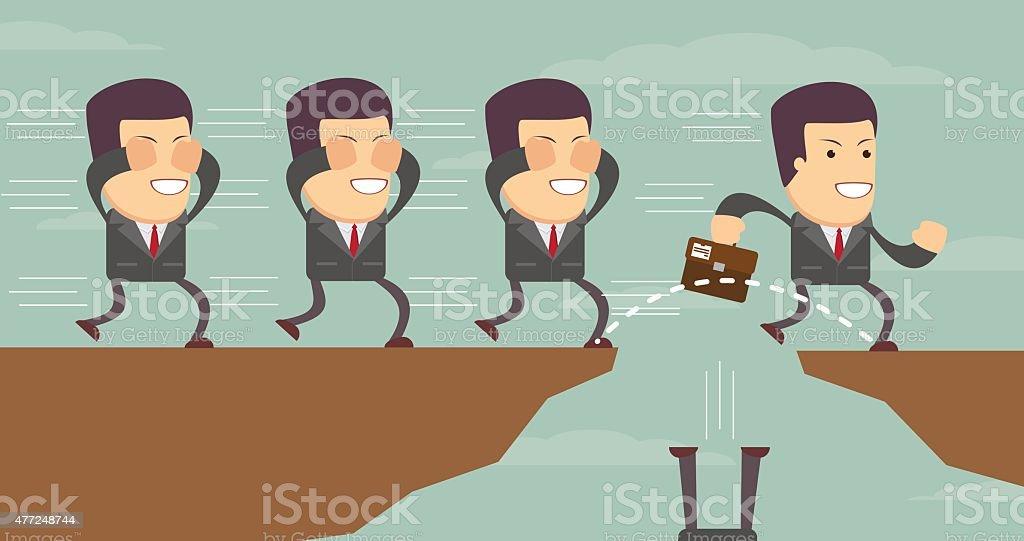 Businessman jump through the gap vector art illustration