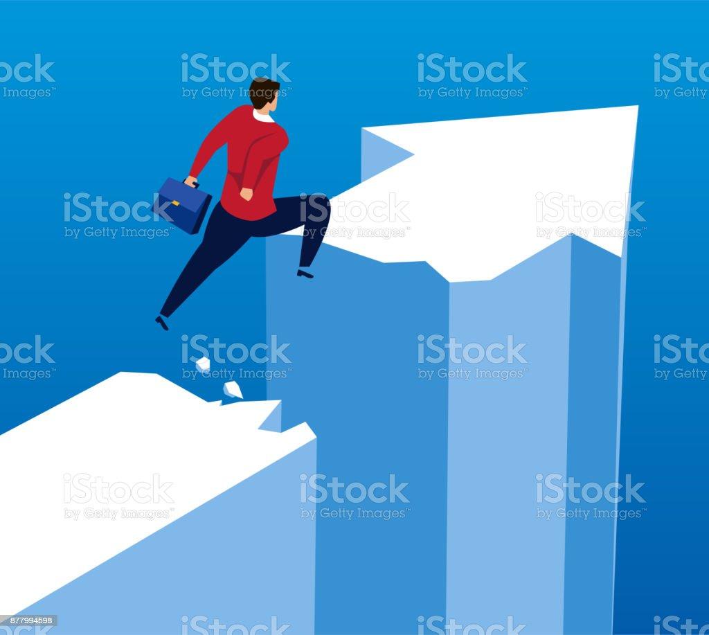Businessman jumping broken arrow vector art illustration