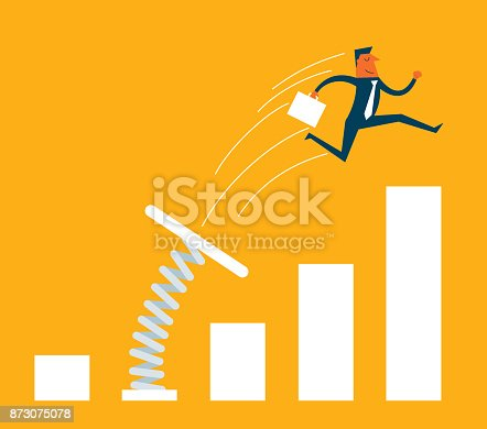 istock Businessman jumping from springboard 873075078