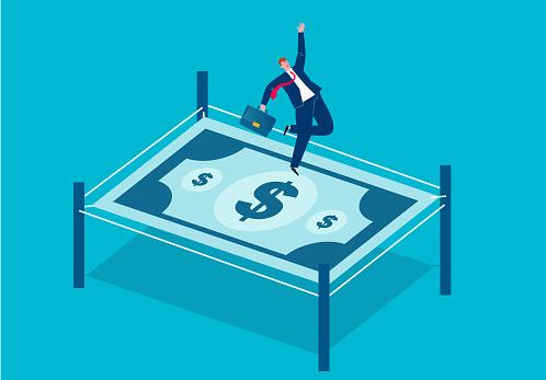 Businessman jumping on money trampoline, business concept illustration