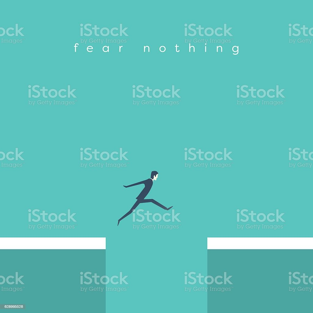 Businessman jumping over chasm vector concept. Symbol of business success vector art illustration
