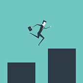 Businessman jumping over gap business risk and challenge.