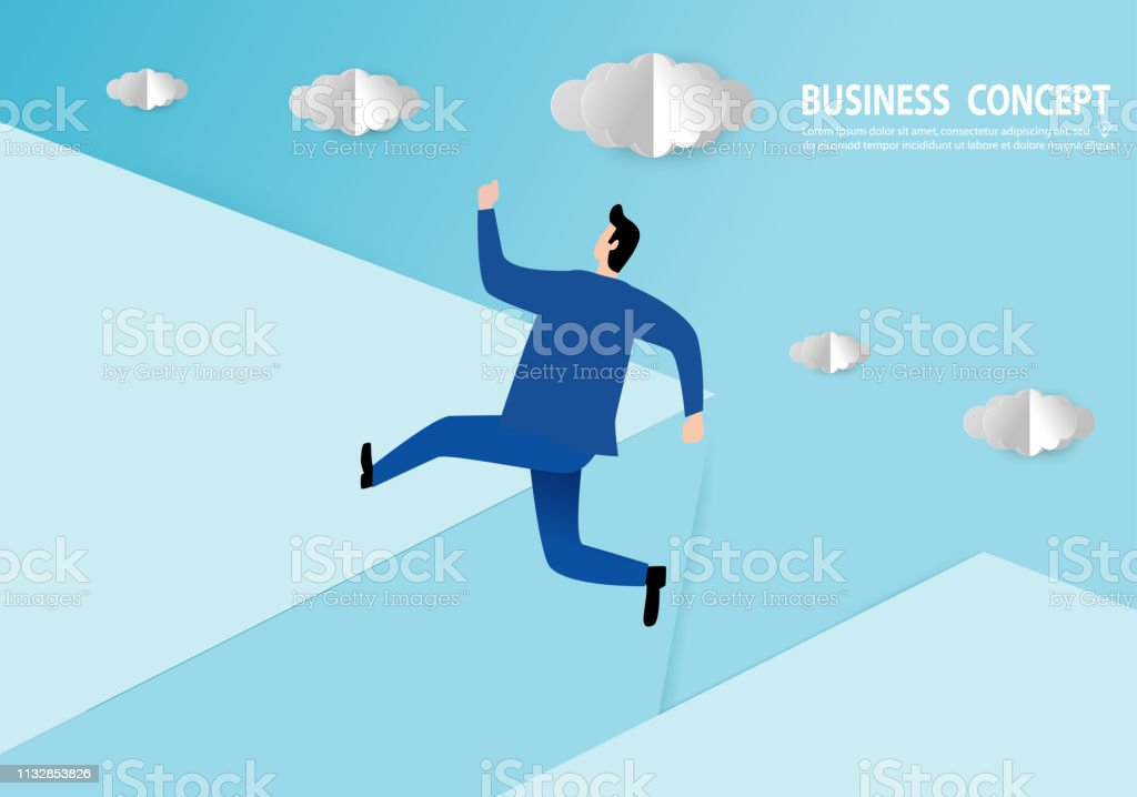 Businessman jumping over gap, Paper art style, people business...