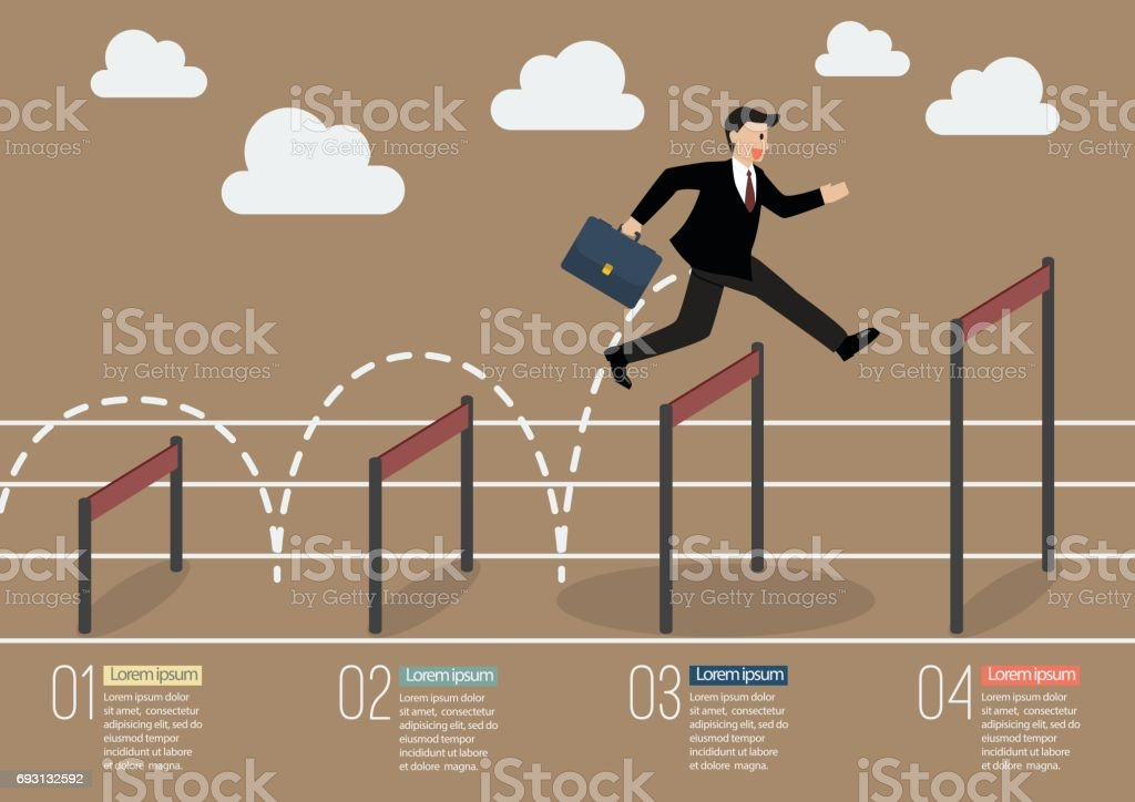 Businessman jumping over higher hurdle infographic vector art illustration
