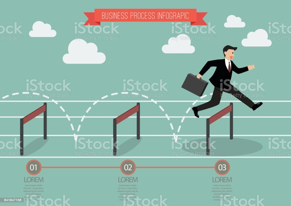 Businessman jumping over hurdle infographic vector art illustration