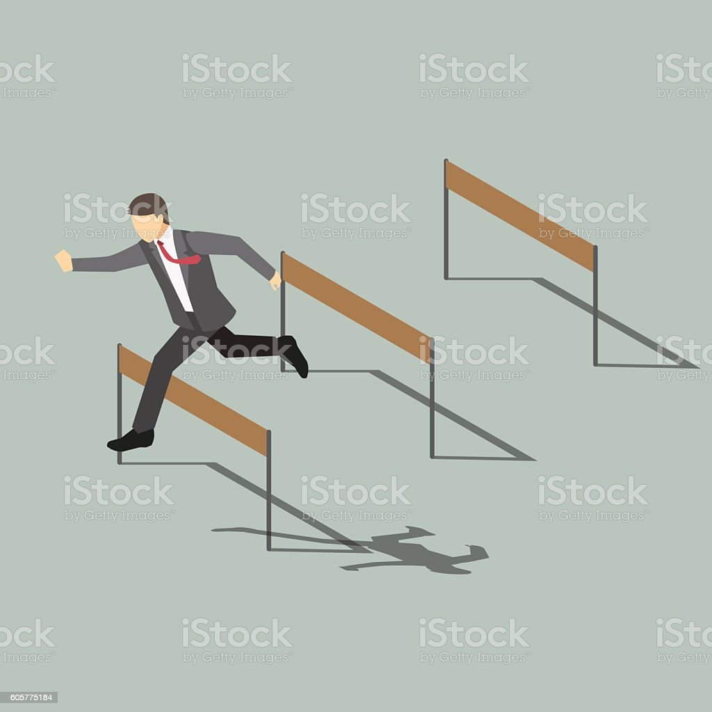 Businessman Jumping Over Hurdle ,Isometric cartoon character vector art illustration