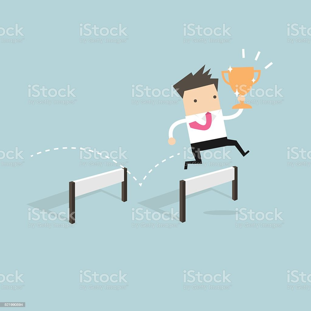Businessman jumping over obstacle and holding trophy vector art illustration