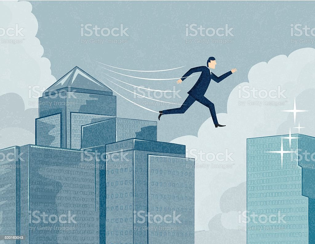 Businessman Jumping to a New Opportunity vector art illustration
