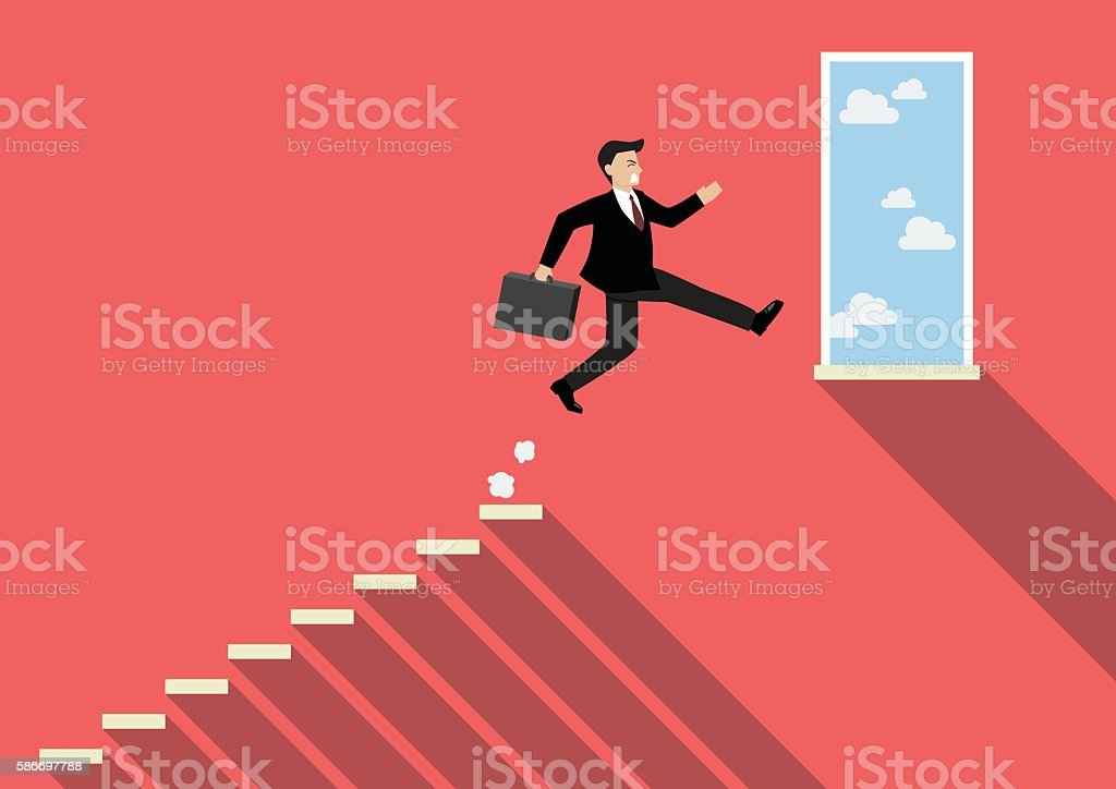 Businessman jumping to success vector art illustration