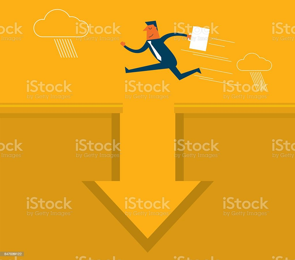 Businessman jumping vector art illustration