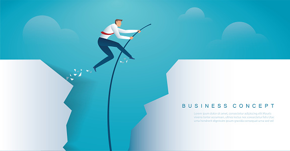 businessman jumping with pole vault to reach the target. vector illustration