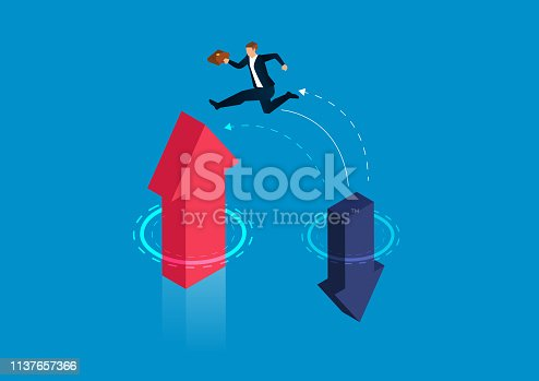 Businessman jumps from falling arrow to rising arrow