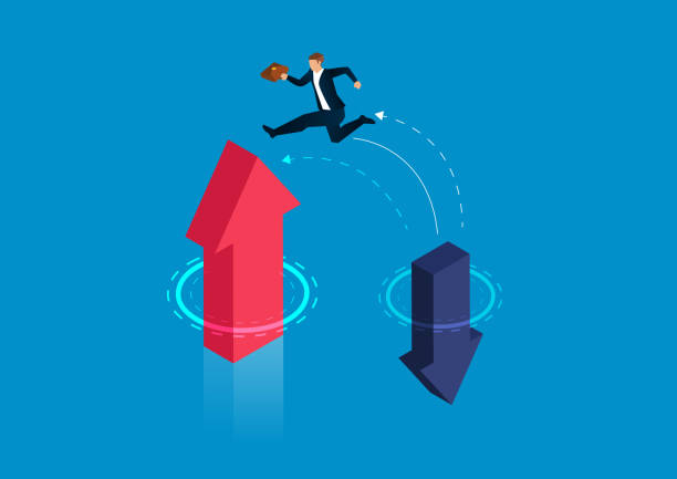 Businessman jumps from falling arrow to rising arrow Businessman jumps from falling arrow to rising arrow crisis stock illustrations