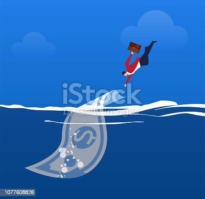 Businessman jumps out of the sea and catches the money falling into the sea