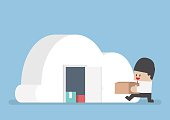 Businessman keep his stuff in cloudy shape room, VECTOR, EPS10