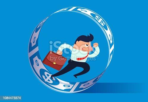 Businessman keeps running inside the circle of money