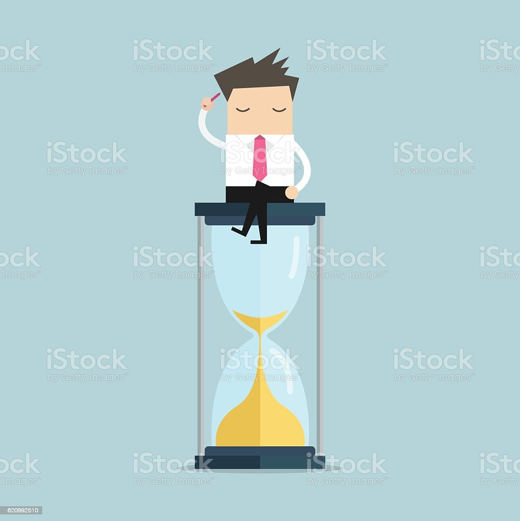 Businessman keeps thinking and sitting on a hourglass, creative thinking. vector art illustration