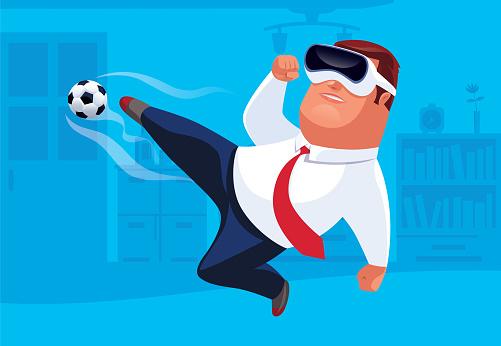 businessman kicking football with VR simulator
