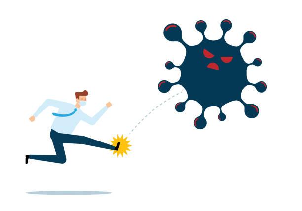 Businessman Kicking The Virus vector art illustration