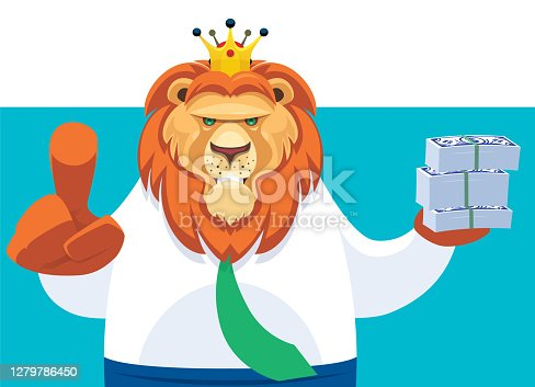 istock businessman king lion holding stack of money notes and pointing at front 1279786450