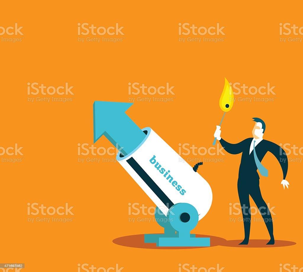 Businessman launching a business arrow through cannon vector art illustration