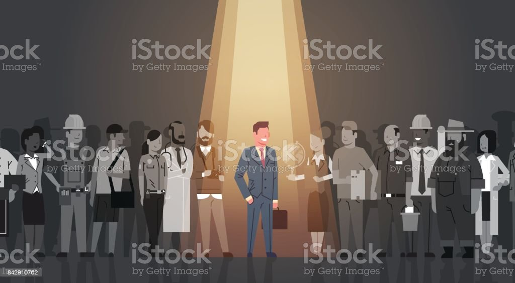 Businessman Leader Stand Out From Crowd Individual, Spotlight Hire Human Resource Recruitment Candidate People Group Business Team Concept vector art illustration