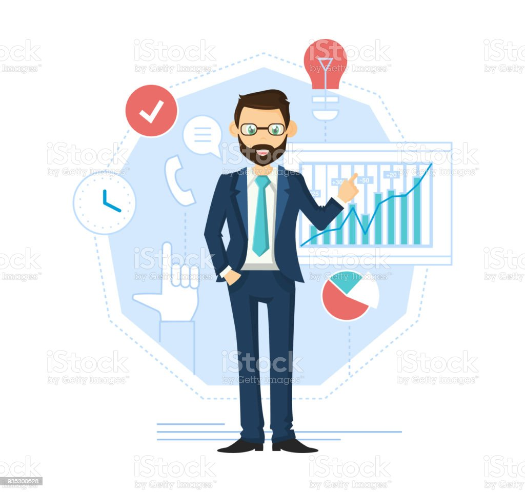 ilustración de líder empresario exitoso empresario gestión