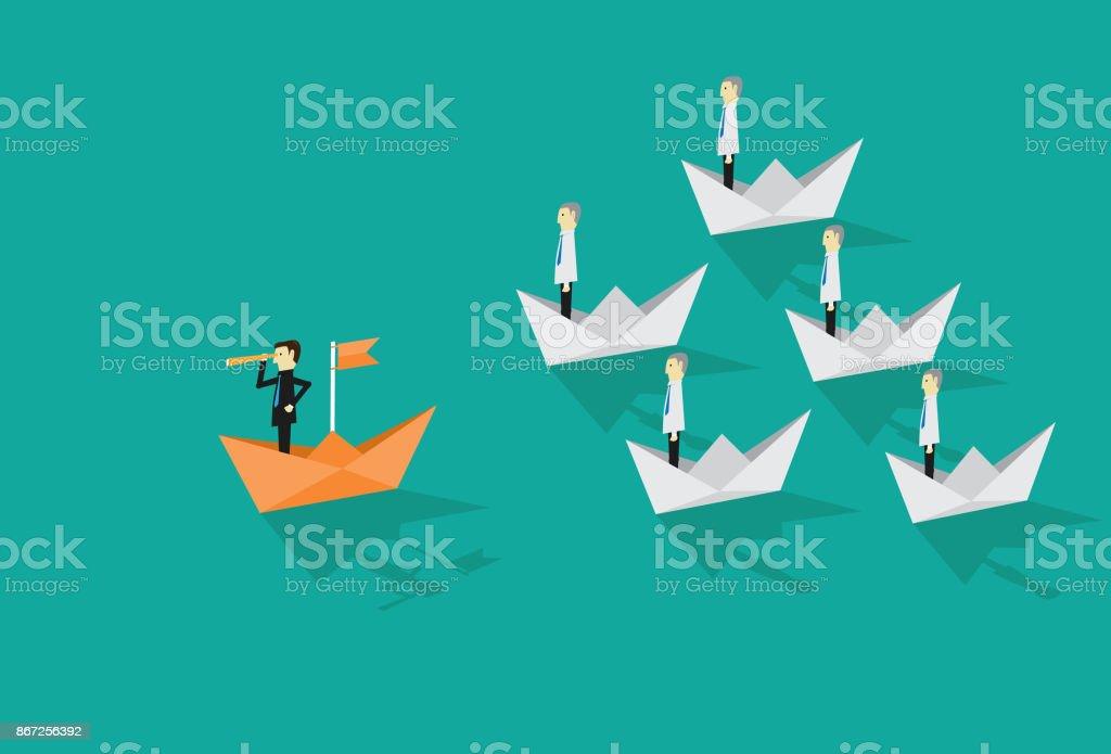 Businessman leadership vector art illustration