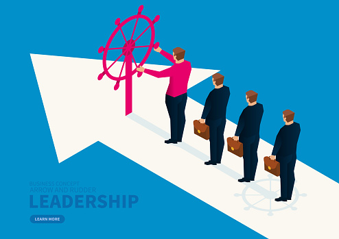 Businessman leads the employee on the arrow