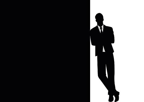 ilustraciones, imágenes clip art, dibujos animados e iconos de stock de hombre de negocios negro apoyarse en el espacio en blanco - moda de hombre